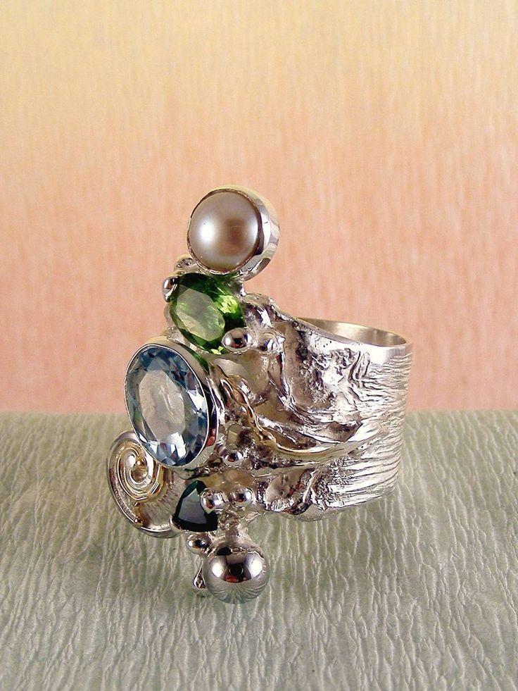 gregory pyra piro #konst #smycken #ring #sterlingsilver och #guld med #ädelstenar