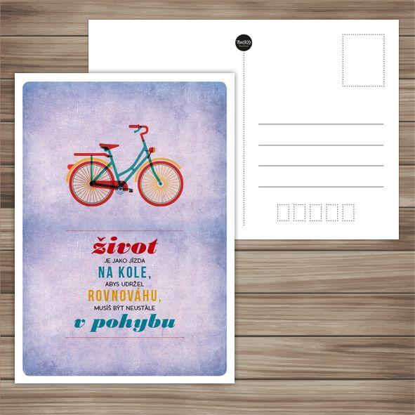život je jako jízda na kole...  retro pohlednice