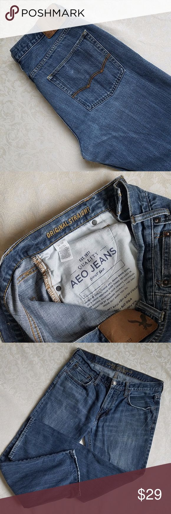 Men's American Eagle Outfitters Jeans Men's American Eagle Outfitters Jeans. Size 32 X 30.  Comfortably worn in and extremely soft and strong.  The distressed fabric, marks and worn cuffs make these jeans look great. (100098) American Eagle Outfitters Jeans Straight