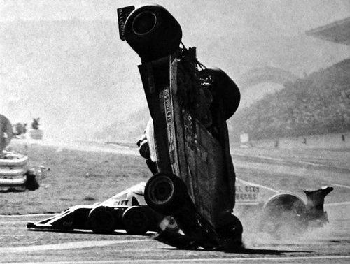Gilles Villeneuve flies over Ronnie Peterson at Fuji Speedway    1977 Japanese Grand Prix
