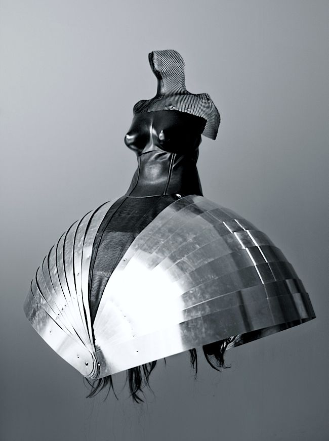 Dress Sculpture made from metal, leather, silk, thermoplastic & hair - sculptural form resembling armour // Ana Rajcevic #art
