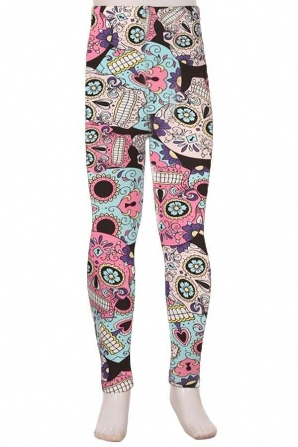 163cc36151192 Girls Sugar Skull Leggings Skull Candy Pink/Blue/Black: S/L  #tunicsandleggingsforwomenTutorials