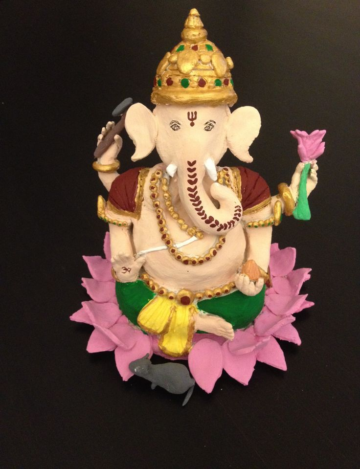 Hand made Ganesh idol using air dry clay and acrylic paints.