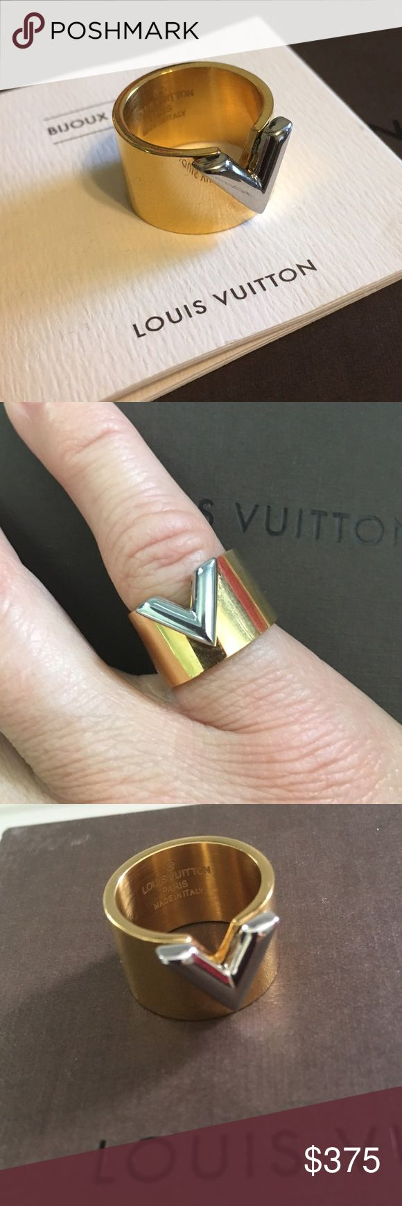 Louis Vuitton V Ring Lovely Louis Vuitton ring. I would say around 5/6 in size:) If it fit my ring finger I would be keeping! Comes with Louis Vuitton pouch, booklet and box. Wonderful condition. Louis Vuitton Jewelry Rings
