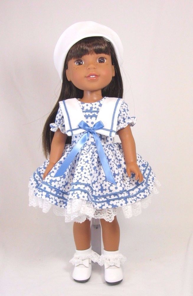"Blue Sailor Dress fits 14"" Wellie Wisher Doll 