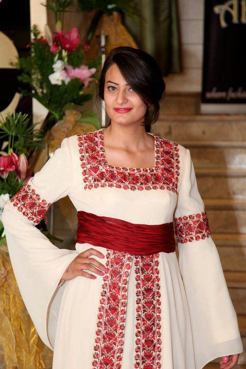 embroidered dress inspired from Palestinian heritage