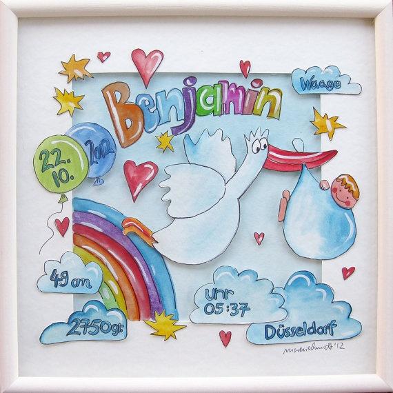 Namensbild zur Geburt / drawing for a bith  von Handgemalt auf Etsy, €64,00