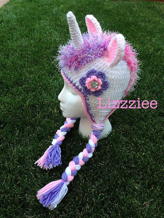Unicorn Crochet Hat Pattern PDF instructions for by lizzziee
