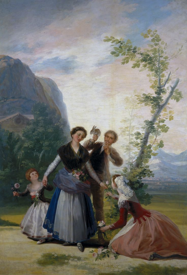"Francisco de Goya: ""Las floreras, o La Primavera"". Oil on canvas, 277  x 192 cm, 1786. Museo Nacional del Prado, Madrid, Spain"