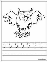 Grafomotorika - Učíme se psát písmeno S - Sova