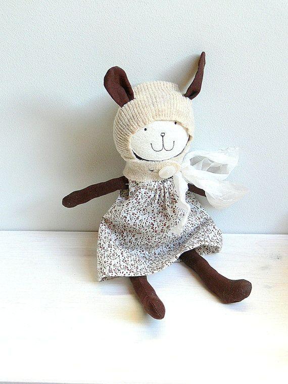 Stuffed Bunny Toy Heirloom Bunny Doll  LIA by MiniwerkaToys