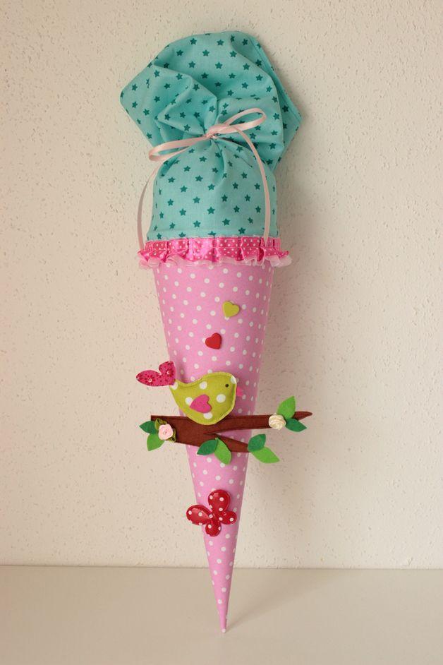 """Schultüten - Kindergartentüte, Geschwistertüte """"Vogelliebe"""" - ein Designerstück von Anastasiyas-Stoffmaerchen bei DaWanda"""