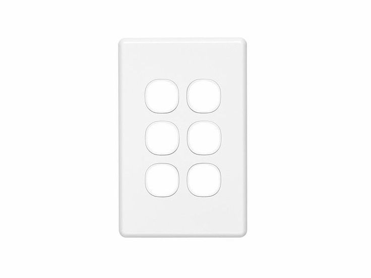 Clipsal Six 6 Gang Wall Plate Classic Series Light Switch TV Data C2036VH White