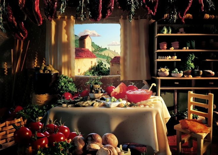 Еще одна композиция, передающая итальянские мотивы под названием «Тосканская кухня». Ее внутренние стены выполнены из пармезана, белые занавески – из высушенной лазаньи, а скатерть – из свежей. За окном можно увидеть облака из моцареллы, здания, выложенные пармезаном, и поля, изображенные пастой. А еще здесь можно увидеть огромное количество свежих фруктов на столе и полках...