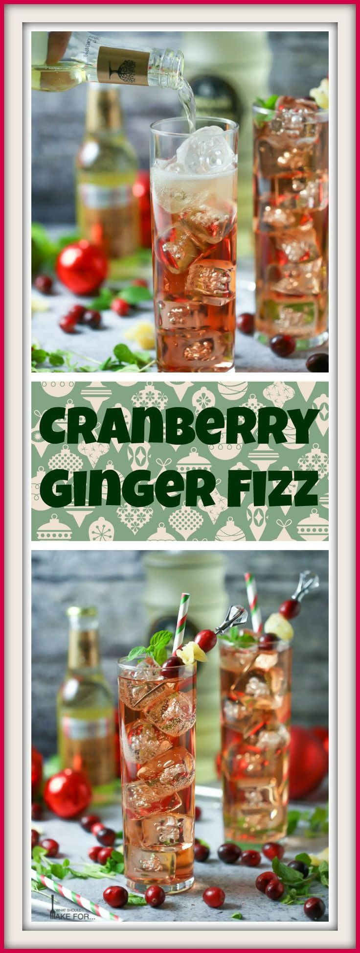 Drink and be merry with this festive cranberry ginger fizz cocktail. Tart, sweet, spicy and a whole lot of fun!