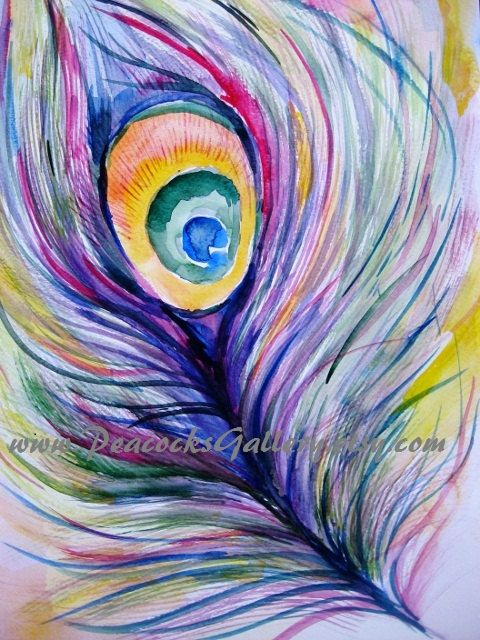 Peacock Watercolor Painting Original 10x14 by PeacocksGallery, $29.00