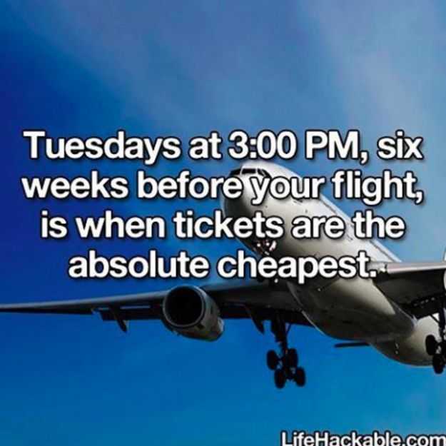 To get the best deal on a flight, browse through your options on a Tuesday.
