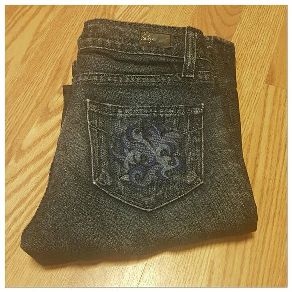 Paige Premium denim jeans Paige premium denim jeans. Size 24. These have been hemmed.  Inseam is 29 inches.  Please note in 3rd and 4th photo of hemmed legs. These are the Hollywood Hills classic rise bootcut. 98% cotton 2% spandex. Paige Jeans Jeans Boot Cut