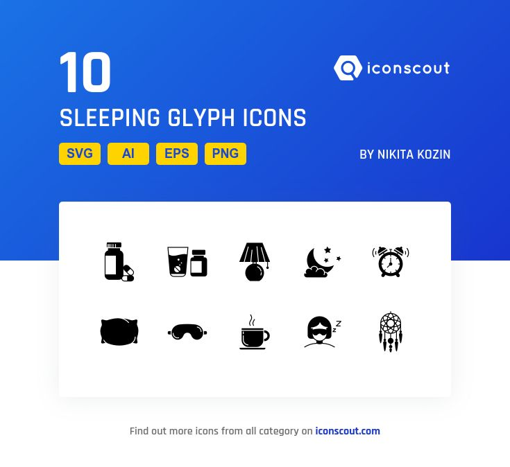 Sleeping Glyph  Icon Pack - 10 Solid Icons