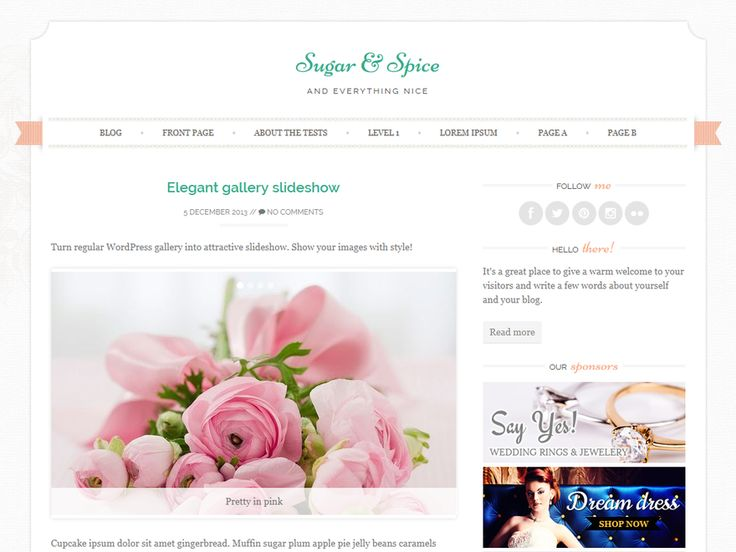 WordPress › Sugar and Spice « Free WordPress Themes @Flor This would be perfect for you if you ever decide to take up blogging. ^^