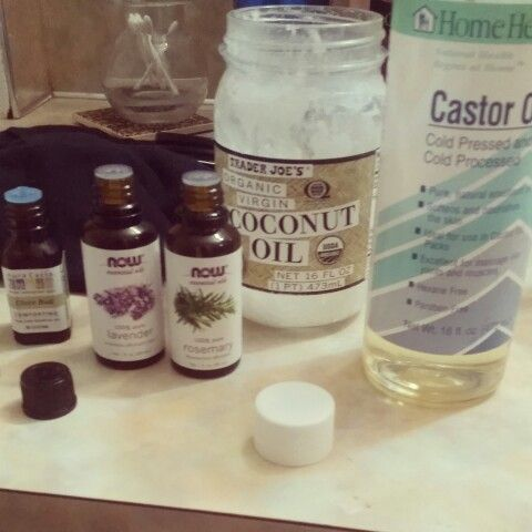 DIY hair growth Mix castor oil, coconut oil, 5 drops of rosemary, clove bud and lavender essential oil into a bottle, shake and done! Massage product onto scalp with fingertips, leave on overnight and rinse in the morning. Do this a few times a week, and you will definitely notice hair growth! Can also be used on eyebrows