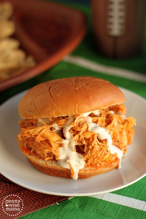 Slow Cooker Buffalo Chicken Sandwiches - perfect make ahead meal for game day!