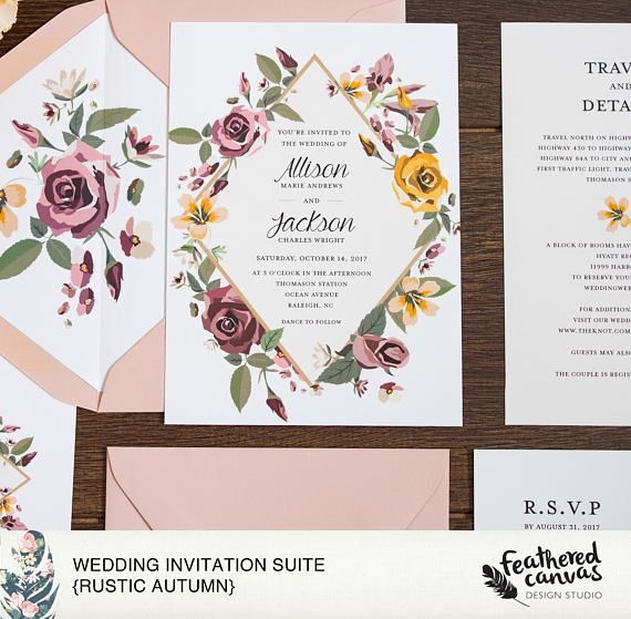 Rustic Wedding Invitation Suite