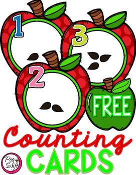 Enjoy these FREE Apple Counting Cards for your classroom! Bright and colourful - perfect for Math Centers! Includes two sets of cards, Numbers 1-12 WITH SEEDS and WITHOUT;  Use the set with seeds for sequencing or flash cards! Use the set without seeds for centers; students can add manipulatives to represent the correct number of seeds or make seeds from play dough!- Print, cut and laminate the apple cards for extended classroom use.- If you enjoy this product, please leave feedback.