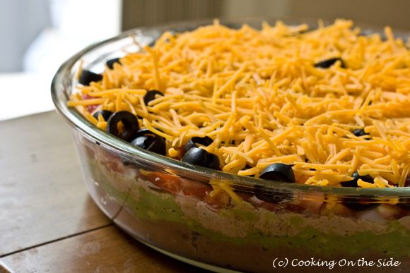 7-Layer Dip ...get the #recipe at www.cookingontheside.com