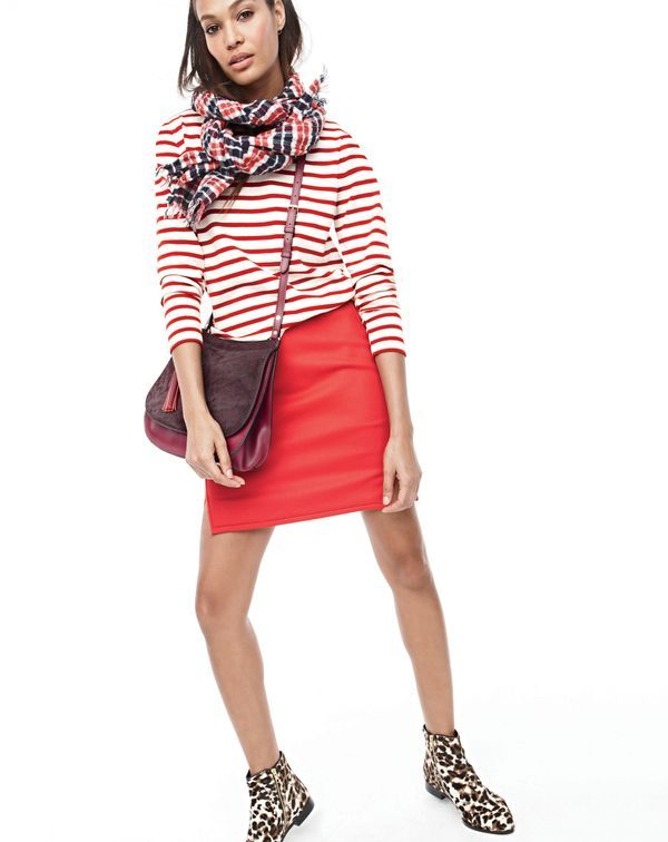 J.Crew women's striped boatneck T-shirt, double-notch mini skirt, double-faced plaid scarf, leather calf hair saddlebag and Collection calf hair ankle boots.