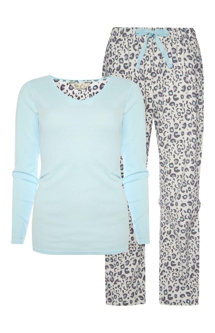 Aqua Leopard Print PJ Set