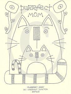 Purrfect Mama stitchery pattern - cute cats!