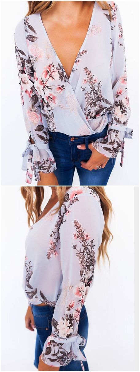 Floral Print V-Neck Cross Front Blouses US$17.95