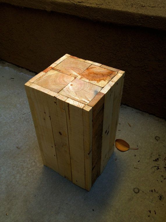 Small Rustic Side Table With a Sleek Design this Dimensions = Height 14 3/4 inch, Length 8 inch, Width 8 inch.