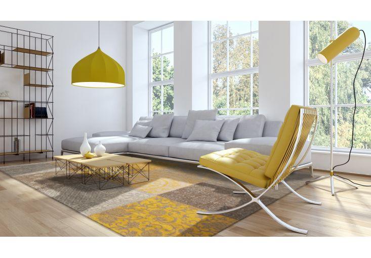 Dywany Patchwork :: Dywan naturalny vintage patchwork 8084 Yellow - żółto szary - Carpets&More - wysokiej klasy dywany i akcesoria tekstylne