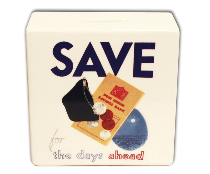 £9.99 | As perfect a sentiment now as it was then – use this great money box to help save for times ahead. Featuring an image from an original poster advertising the Post Office Savings Bank, c.1955, held at the British Postal Museum & Archive. Ceramic 11.6x11.6x5.5cm