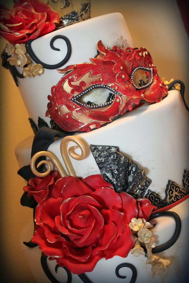 Masquerade decorations you make yourself - Aps I Like The Golod Tipped Rose And The Detail On The Mast Red Black And Gold Masquerade Cake I Said I Love Masquerade Mask And I Love Going To