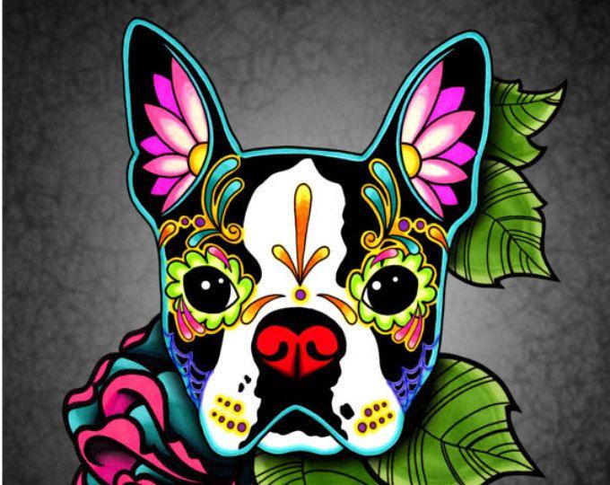 """Perro Boston Terrier en negro - día del cráneo muerto del azúcar 8 """"x 10"""" lámina de arte"""