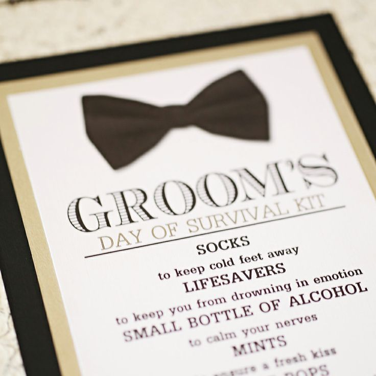 Maybe this is a project that someone wants to take one.   The Groom's Day-Of Survival Kit