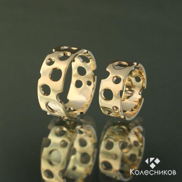 """Купить Кольца """"Сырные"""" - золотой, золотые кольца, широкие кольца, необычные кольца, сырные кольца"""