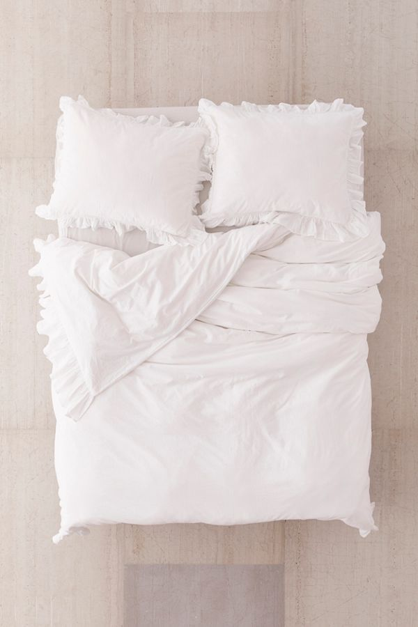 Washed Cotton Overscale Ruffle Duvet Cover Ruffle Duvet Cover Ruffle Duvet White Bed Covers