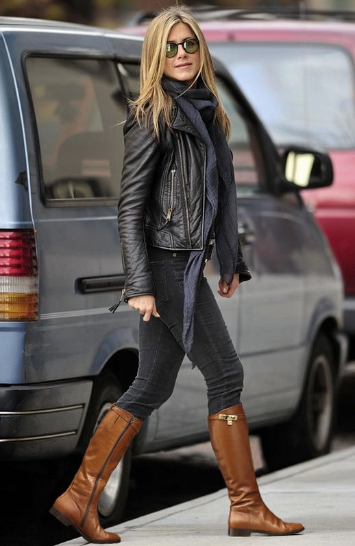 Jennifer Aniston black skinny jeans black leather jacket brown riding boots