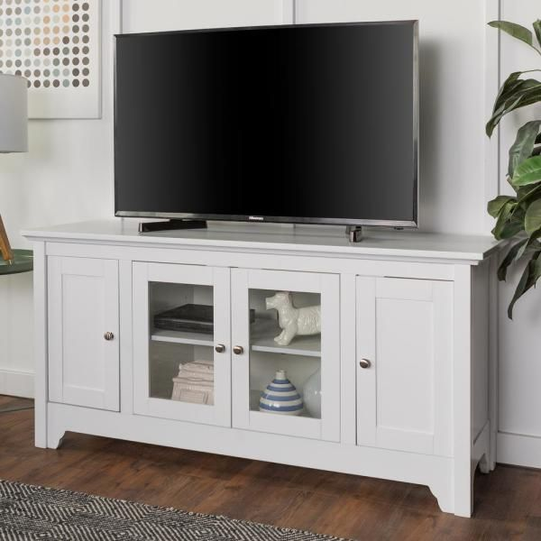Walker Edison Furniture Company 52 In White Wood Tv Media Stand Storage Console Hd52c4dow In 2020 Wood Corner Tv Stand Walker Edison Furniture Company White Tv Stands