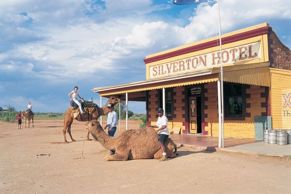 Park your camel outside and come in for a cold beer! Silverton Hotel, Silverton, near Broken Hill, New South Wales / Silverton is a small village at the far west of NSW, 25 km north-west of Broken Hill. At the 2006 census, Silverton had a population of 89 people. The town is often referred to as a ghost town; however, there remains a small permanent population and mainly tourist related businesses.