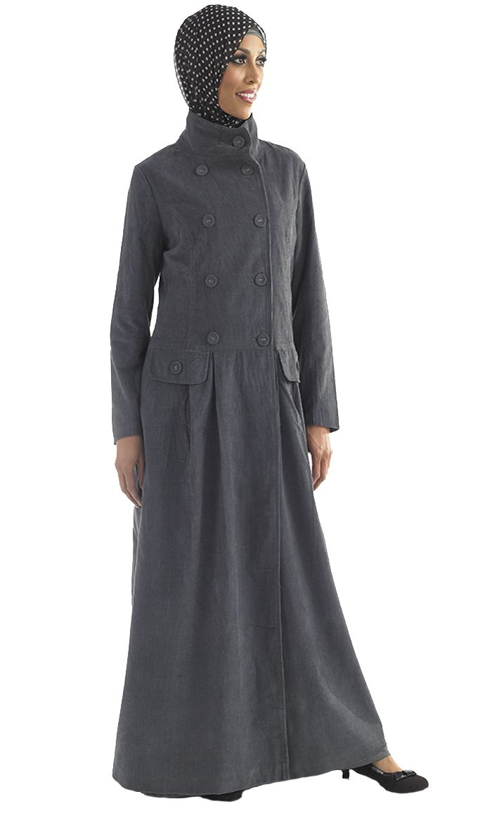 Eastessence.com | Abayas & Jilbabs | Grey Corduroy Jacket  - Just needs some brass buttons and a bit of trim!