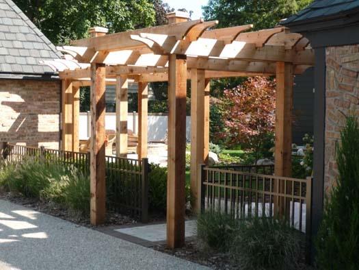 Ornamental Aluminum Fence And Wood Pergola Aluminum