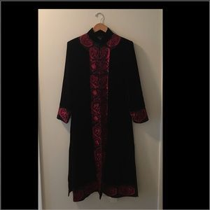 Jackets & Blazers - Asian Velvet & Silk Embroidered Duster Coat NWT