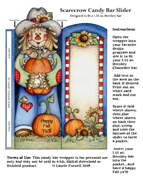 free printable scarecrow fall candy bar wrapper