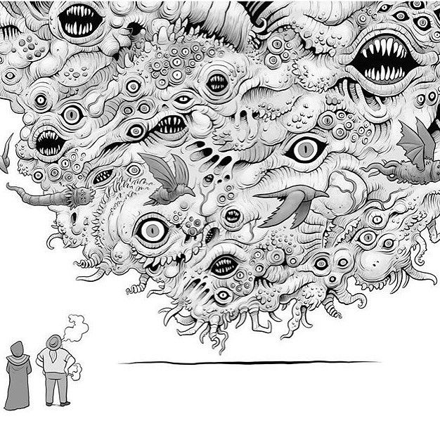 """SNEAK PEEK Panel from @tim_molloy_illustration graphic novel """"Mr Unpronouncable and the Infinity of Nightmares"""" published by @milkshadowbooks. To be launched at beinArt Gallery's """"Transmogrify"""" show this Saturday (June 25) where Tim will be signing (and sketching in) copies. Pre-order your signed copy here: www.timmolloy.beinart.org"""