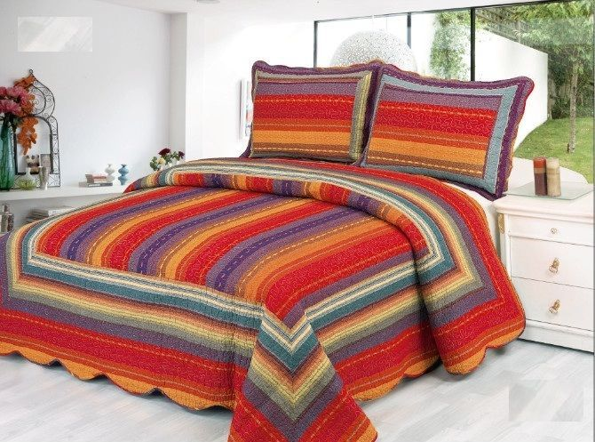 Premium 100% Cotton Striped Reversible Quilt Set #DesignedintheUSAImported #Contemporary